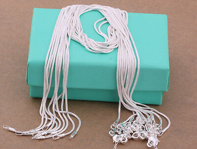 "wholesale 925 sterling solid silver 10PCS 1MM snake chain necklace 16""-30"" FDC08"