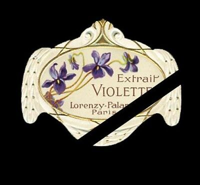 French Perfume Label: Antique Embossed Extrait Violette, Palanca Paris