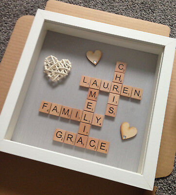 Personalised Family Scrabble Letter Box Frame Picture Mother day Present Mum Dad