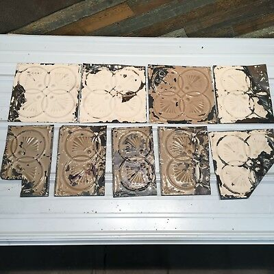 "9pc Lot of 12"" and under Antique Ceiling Tin Vintage Reclaimed Salvage Art Craft"