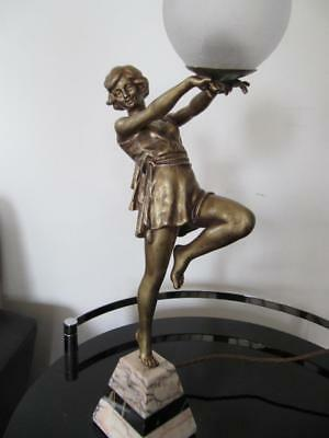 vintage antique CLASSIC ART DECO LAMP FIGURAL LADY FRENCH