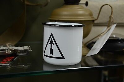Original Russian Metal Enameled Cup Mug, Logo Of The Izhevsk  Arms Plant