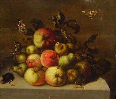 Large 17th Century Dutch Old Master Still Life Fruit Insects Mouse Butterflies