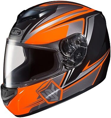HJC CS-R2 Flame Motorcycle Helmet Black Orange L LG Large Full Face