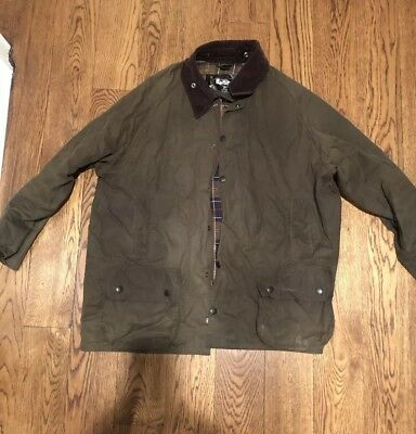 Barbour Waxed Green Jacket With Flannel Lining BEAUFORT XXL