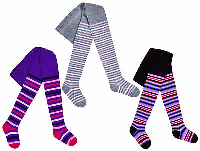 Girls Tights Cotton Rich Striped Knitted Tights Black Ages 2 3 4 5 6 7 8 Years