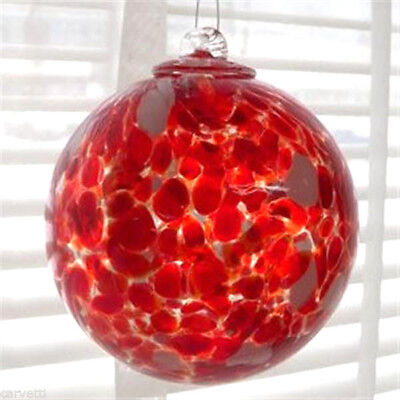 """Hanging Glass Ball 4"""" Clear Glass with Red & White Speckles (1) HB32-1"""