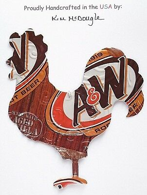 Rooster Christmas Ornament Handmade Recycled Aluminum Metal Root Beer Soda Can