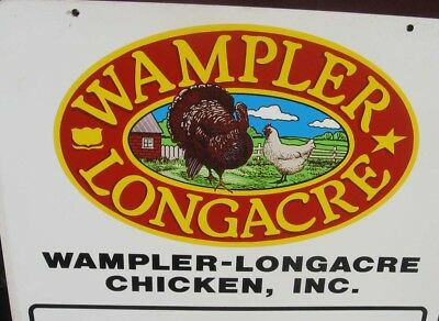 2 Sided Wampler Longacre Chicken Turkey Metal Sign   Farm Animal Sign