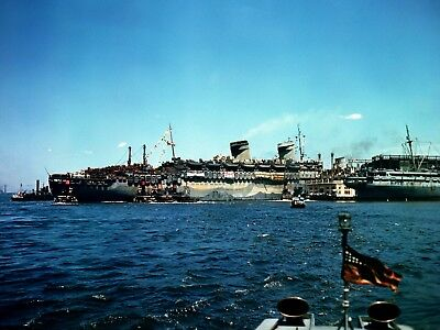 USS Westpoint (America) 3/4 Stern View Arriving at  New York - Color 8x10 Print