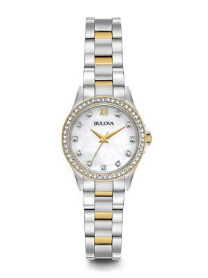 New Bulova Ladies Two Tone Crystal Watch 98X112 NO NECKLACE AND EARRINGS