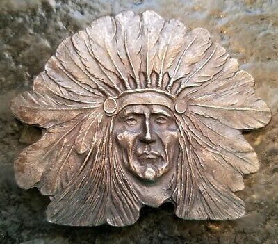 Vintage Or Antique Brass or copper Indian Head Chief Belt Buckle