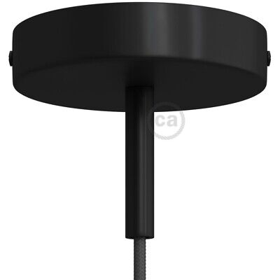 Black 120 mm ceiling rose kit with cylindrical 7 cm black metal cable retainer