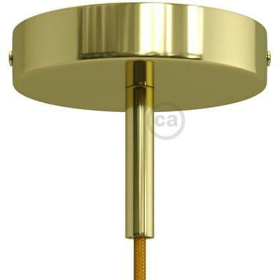 Brass 120 mm ceiling rose kit with cylindrical 7 cm brass metal cable retainer