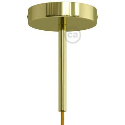 Brass 120 mm ceiling rose kit with cylindrical 15 cm brass metal cable retainer