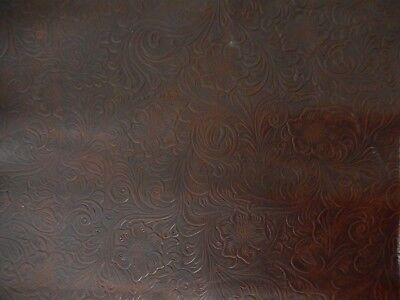 "Dark Brown Paisley Embossed Leather Remnant. 13"" x 19.5"".  #112."