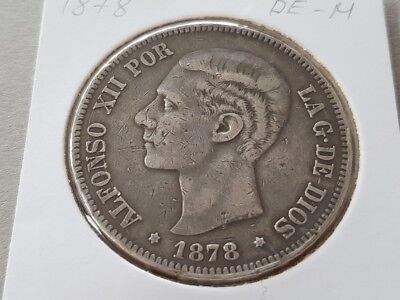 SPAIN 5 PESETAS 1878 Alfonso XII Antique SPANISH SILVER COIN KM# 676 Cal# 28