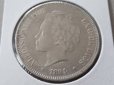 SPAIN 5 PESETAS 1894 Alfonso XIII Antique SPANISH SILVER COIN KM# 700 Cal# 19