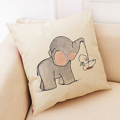 Cartoon Rabbit Elephant Pillow Cushion Covers Sofa Living Pillow Case Cover D