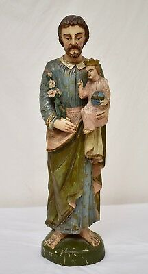 Antique Hand-Carved Wooden Sculpture of Saint Anthony of Padua