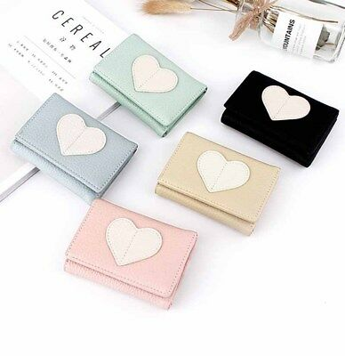 Women PU Wallet Mini Leather Clutch ID Card Trifold Heart Shape Gifts Fashion