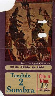 1954 Bullfight ticket from Spain