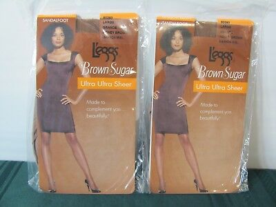 Lot Of 2 Pair Leggs Ultra Ultra Sheer Hose~Brown Sugar~ Large~New In Package (4)
