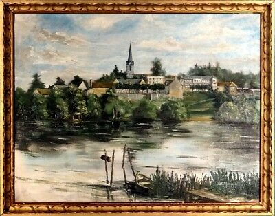 Superb ca.1947 Old French Village w/Church & Castle Painting Oil/Canvas/Frame