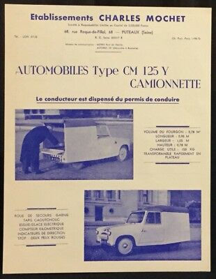 Tres RARE Lot Catalogue 1954 Cyclecar Microcar MOCHET CM 125 Y Camionnette