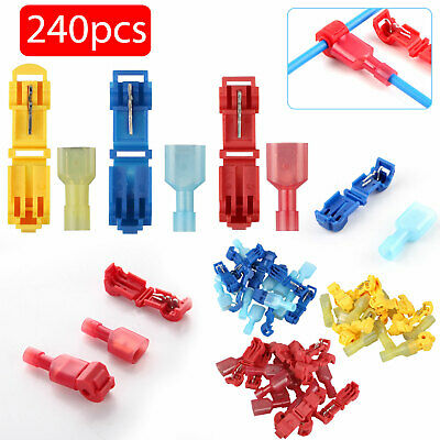 240X Quick Splice T-Taps Wire Terminals Connectors Insulated 22-10AWG Combo Kit