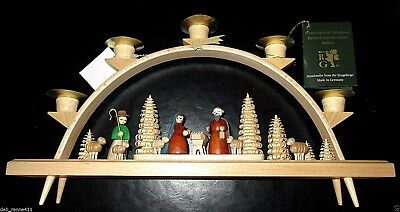 "Handmade Wood Nativity Candle Arch Germany Erzgebirge Glasser Christmas 13"" New"