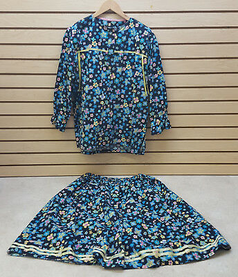 2Xl Hand Crafted Dark Blue Flowered Native American Indian Ribbon Skirt & Shirt