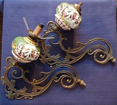 Victorian Antique Pair Brass (Alloy?) Gas Light Fixtures w/Ceramic Decor Unique!
