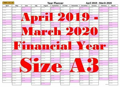 2019-20, 365DAY 50 Staff/Employee Holiday/Work Planner chart
