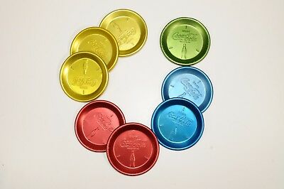 8 Vintage Anodized Aluminum Coca Cola Coasters Coke Red Yellow Green Blue