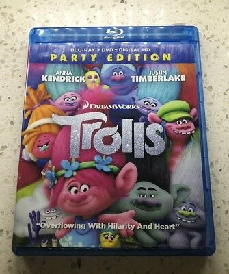 🔥🔥TROLLS: Party Edition (Blu Ray, DVD, DreamWorks, 2017) No Digital Copy📀👀