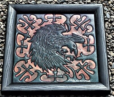 """RAVENS FURY""  Framed Unique one of a kind Leather Art by Eddie Brat Leather"