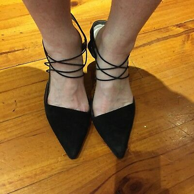 """**Reduced*THIERRY MUGLER-VINTAGE pumps with heels. Black suede """"Couture"""" 9 1/2."""