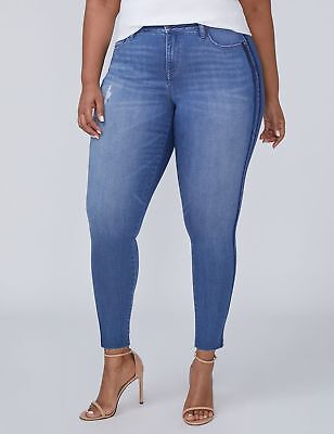 c654567cdcd Lane Bryant Super Stretch Ankle Skinny Jeans Womens 16 Mid Rise Distressed  NWT