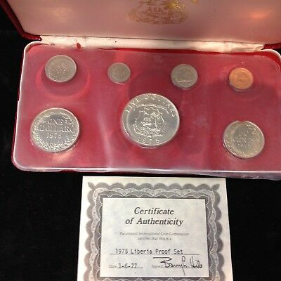1975 Liberia 7 Coin Proof Set with SILVER w Box and COA