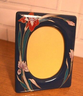"""Vintage THICK CERAMIC oriental blue 3 1/2 X 5"""" PICTURE photo FRAME flowers"""
