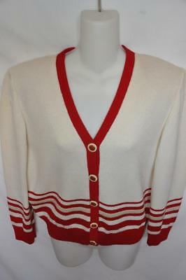 St. John Collection By Marie Gray Ivory/Red Santana Knit Sweater/Blazer -  SMALL