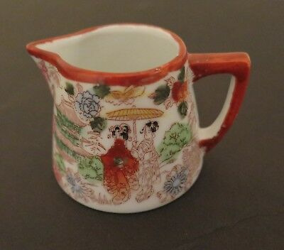 Vintage Red Geisha Girl Hand Painted Porcelain Creamer Or Pitcher Made In Japan
