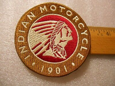 Indian Motorcycle 1901 Iron on Patch  bronze - red -white