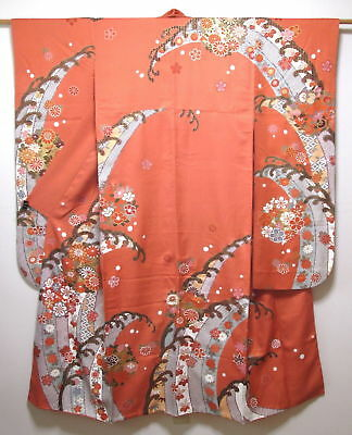 FAB Vintage Japanese Furisode/Kimono/Robe Coral Silk 'Flowers & Waves' 10L-14L