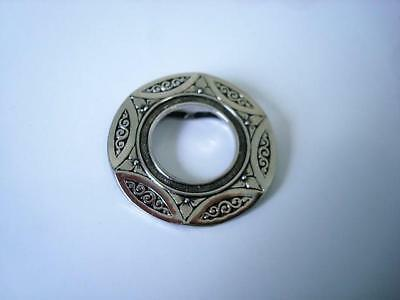 Silver Tone With Black Scarf Ring Clip With Flowers and Scrolls Design