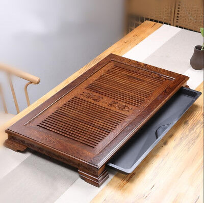 wooden tea tray Chinese handcarved tea table Wenge wood serving tray solid wood