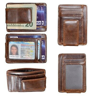 df1e64ab36c Mens Genuine Leather Money Clip Front Pocket ID Card RFID Blocking Slim  Wallet