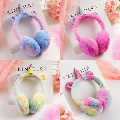 Rainbow Unicorn Children Girls Plush Padding Earmuffs Ear Muffs Soft Warm Winter