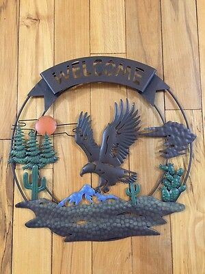 Rustic Welcome Eagle 3D Metal Wall Decor Sunset Cactus Southwest Cutout Wall Art
